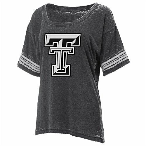 Ouray Sportswear NCAA Texas Tech Red Raiders Womens Crush Football jersey Tee, Large, CHARCOAL