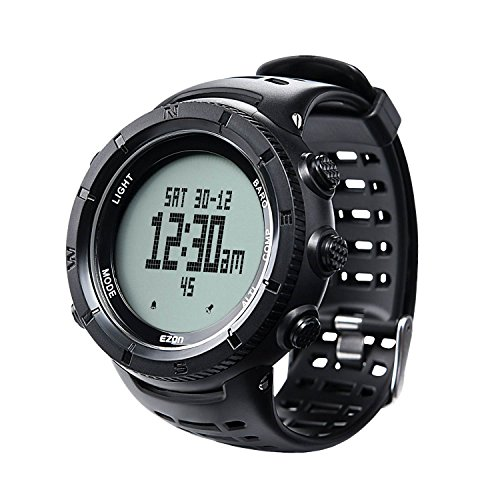 EZON Men's Outdoor Climbing Hiking Digital Sports Watch with Compass Altimeter Barometer Thermometer Waterproof Wristwatch H001H11