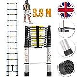 3.8M Aluminium Telescopic Ladder Portable Multi Purpose Ladder Steps Extension Extendable Ladder for Outdoor Indoor Builder DIY Jobs Use