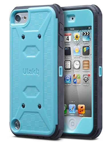 iPod Touch 6th generation case with screen protector,ULAK KNOX ARMOR Shockproof Dual Layer Belt Clip Holster Fullbody Protective Case Bumper Hard Cover for Apple iPod Touch 5/6th Generation-Blue