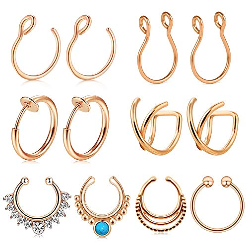 (JFORYOU 12PCS Stainless Steel Ear Cuff Ear Clips Non Piercing Cartilage Earrings Fake Nose Lip Suptum Ring Set for Men Women, 8 Various Styles Rose Gold Faux Body Piercing)