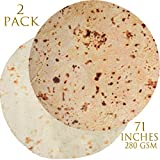 Innocedear Burritos Blanket,2 Pack Burritos Tortilla Blanket 71inches, Food Flour Tortilla Throw Blankets,Comfortable Soft Novelty Giant Round Taco Blanket for Adults&Kids-Style 3