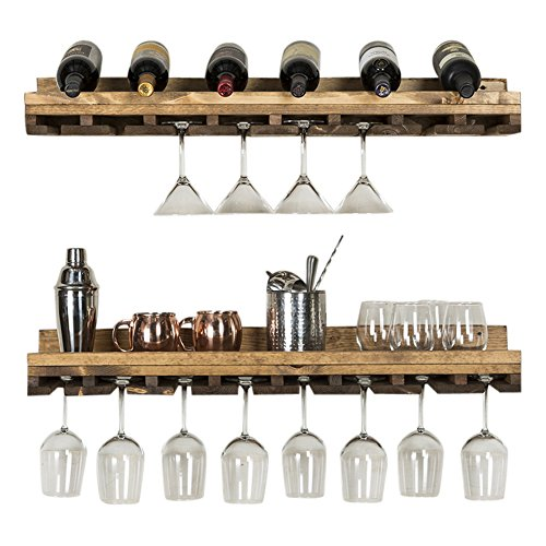 del Hutson Designs Rustic Luxe Tiered Glass Racks, Set of 2, Dark ()
