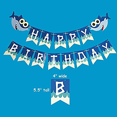 Cute Baby Shark Under The Sea Happy Birthday Banner Party Supplies for Baby Shower 1st 2nd Birthday Party Backdrop Decorations…: Toys & Games