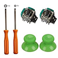 Timorn 2pcs Replacement Thumbsticks Joysticks Swap and 2pcs Wireless Controller Rocker with T8 T10 Torx Screwdriver Repair Kits Parts for Xbox One Controller