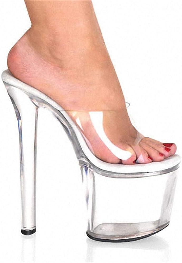 Sandales à la Mode en Cristal Transparent Simple à Talons Hauts de 20 cm pour Femmes Black