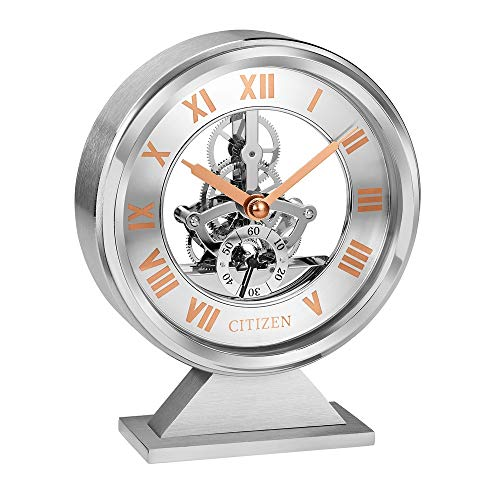 Citizen Decorative desk clock rose gold and silver tone CC1027