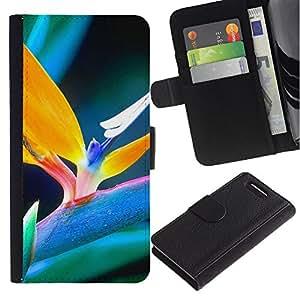 Planetar® Modelo colorido cuero carpeta tirón caso cubierta piel Holster Funda protección Para Sony Xperia Z1 Compact / Z1 Mini / D5503 ( Spring plant )