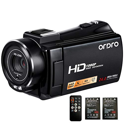 Camcorder, ORDRO V7-Plus Handy Camera HD 1080P Video Camera Recorder IR Night Vision Digital Cameras DVR with Hot Shoe and Remote Control HDMI Output Camcorders for YouTube Vlogging Recording