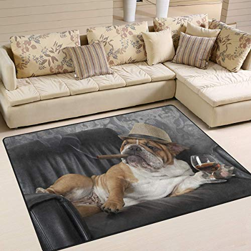 GreaBen Area Rugs for Home Bedroom Livingroom Dining Room Cute Bulldog with Cigar and Glass of Cognac Floor Carpet Non-Slip Rugs for Kids Room 7' x 5'