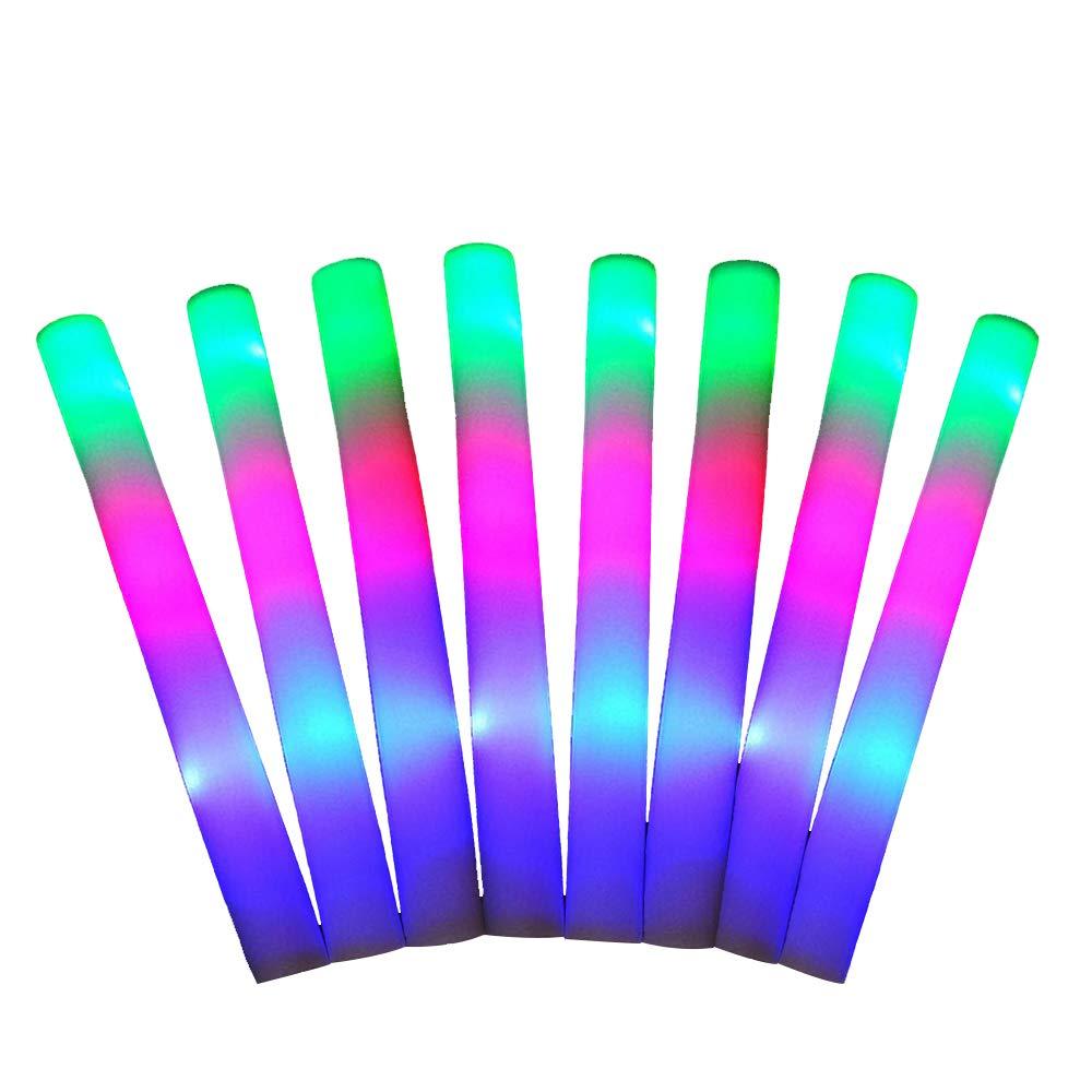 FineInno Mehrfarbig Schaumstoffstab LED Glowstick Party Knicklicht mit 3 Blinkenden Modi Wiederverwendbare fü r Festivals, Geburtstag, Hochzeit (16 Stü ck)
