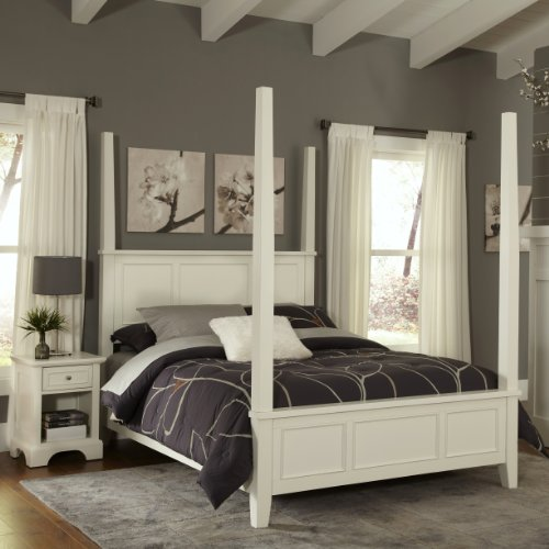 Naples White King Poster Bed & Night Stand by Home Styles