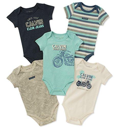 (Calvin Klein Baby Boys 5 Pack Bodysuits, Mint Green/Navy/Vanilla, 0-3 Months)
