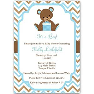 Amazon.com: Baby Shower Invitations, Teddy Bear, Baby Boy