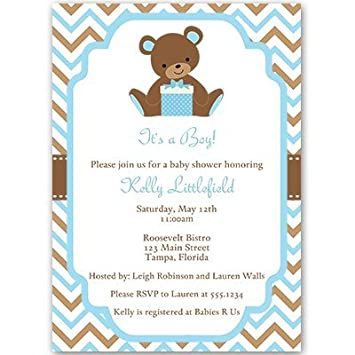 AmazonCom Baby Shower Invitations Teddy Bear Baby Boy Chevron