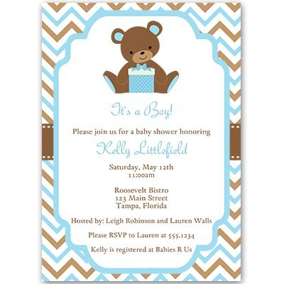 Baby Shower Invitations, Teddy Bear, Baby Boy, Chevron Stripes, Blue, Aqua, Green, Cub, Little, Sprinkle, Customized, Set of 10 Printed Invites and Envelopes, Chevron Teddy Bear