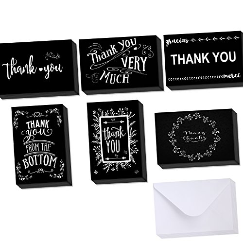 Ohuhu Thank You Card, 48 Thank U Greeting Cards Folded Thank You Note Cards of 6 Designs W/ 48 Envelopes for Wedding, Graduation, 4 x 6 inch, Black and White (Graduation Thank You Notes)