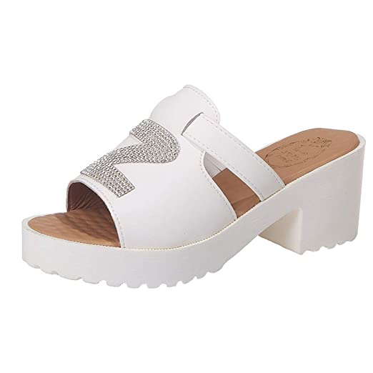 71ed5372e549 Women s Girls Peep Toe Backless Sandals Square Heel Thick Bottom Platform  Slippers Beach Thick Bottom Shoes