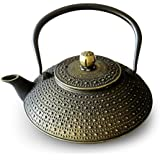 Huswell Cast Iron Teapot, Stainless Steel Infuser, 40 oz./1.2 Litre