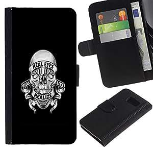 YiPhone /// Tirón de la caja Cartera de cuero con ranuras para tarjetas - REALIZE MENTIRAS CRÁNEO - Samsung Galaxy S6