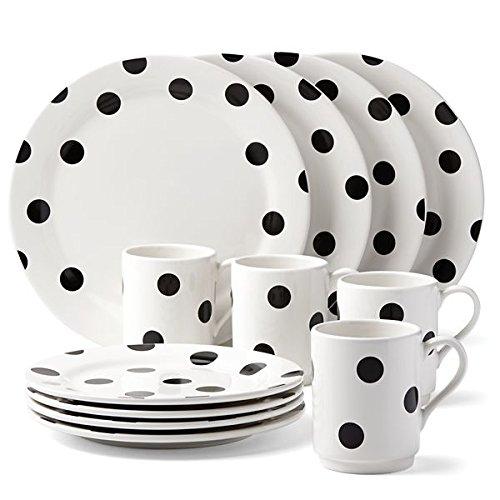 KSNY All in Good Taste Deco Dot Set (Dinner, Accent, Mug), White, 12 Piece