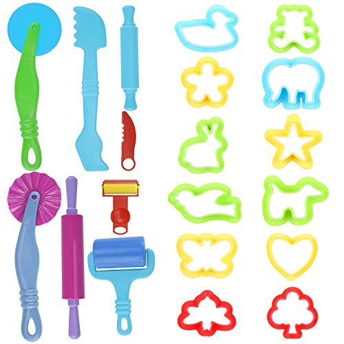 Kare & Kind Set of 20pcs Smart Dough Tools Kit with Models and Molds (Retail Packaging) (Trees and Animals)