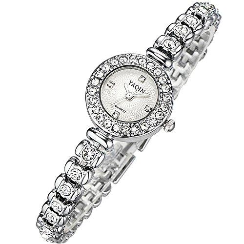 Women Bracelet Wrist Quartz Watch - Waterproof Dress Watches-Rhinestone Watches - Wristwatch (Round Scale Dial Plate)