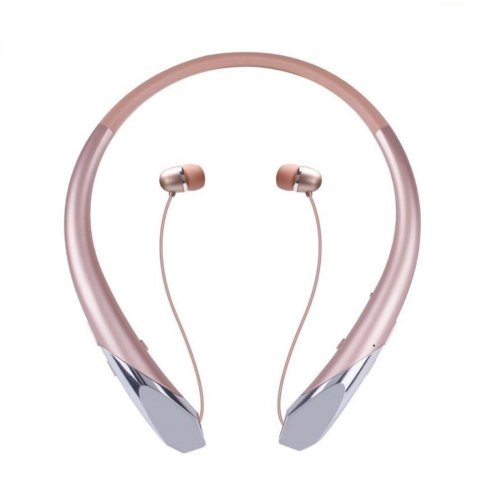 Bluetoothヘッドホン ワイヤレスネックバンドヘッドセット 格納式イヤホン HDステレオ ノイズキャンセリングイヤホン マイク付き (通話振動アラート 15時間再生) 831  Rose Gold 1 B07S1KBWM9