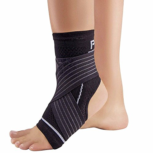Ankle Support Brace with Open-Heel – Compression Sleeve with Adjustable Strap – Great for Running, Ankle Sprains (S/M, Black)