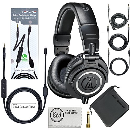 Audio-Technica ATH-M50x Professional Monitor Headphones (Black) + Tekline Iphone Lightning Replacement Cable by K&M
