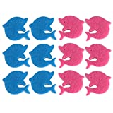 Yuccer Cleaning Scrub Sponge 2 in 1 Cartoon Scrub Sponge Dish Wash Cloth Kitchen Sponges (12 pack, pink+blue)