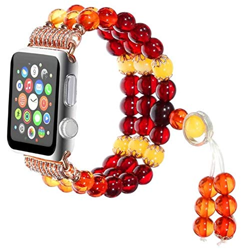 - Beeswax Carnelian Crystal Bracelet Pedant Jewel Faux Watch Strap Fashion Colour Beeswax Beaded Watch Band for Apple Watch Series 3/2/1 All Version 42mm 38mm (Red, 42mm)