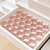 Elezay Women's Multi-Function Drawer Organizer DIY Plastic Bee Grid Storage Orange 4PCS