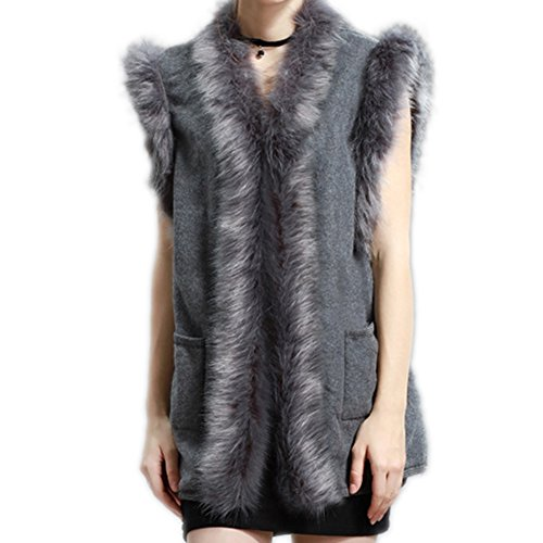 Wool Vest Jacket For Women - HOMEYEAH Faux Fox Fur Trimmed Cardigan Fashion Street Style Sweater Open Front Fox Cardigan Sweater