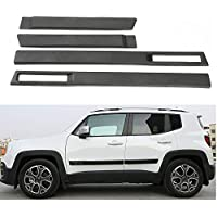 FMtoppeak ABS Body Side Moulding Door Cover Trim Kit Molding Protector Car Styling Mouldings for Jeep Renegade 2015Up Black