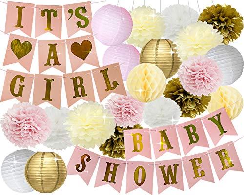 Baby Shower Decorations Kit IT/'s A BOY Banner BLUE Mix WHITE Pom Poms Flowers Pa