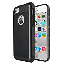 iPhone 5C Case,J.west 2 in 1 Cases Hard Plastic Shell and Soft TPU Dual Layer Hybrid [Shock Proof] Cover for Apple iPhone 5C, Black&Black