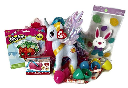 Unicorn Easter Basket Gift Set for girls with tutu pink basket with headband,My Little Pony Princess Celestia Plush, Shopkins Eraser,Bunny Gel Window Clings, Mystery Toy, Eggs filled with chocolates