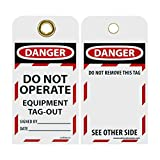 NMC LOTAG13 Lockout Tag,''DANGER - DO NOT OPERATE - EQUIPMENT TAG-OUT,'' 6'' Height x 3'' Width, Unrippable Vinyl, Red/Black on White (Pack of 10)