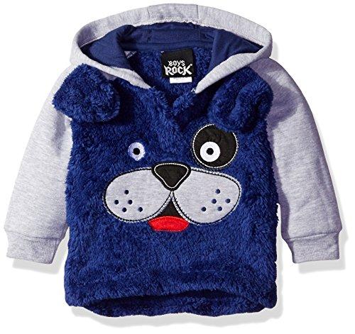 Boys Rock Baby Plush Character Hoodies, Cobalt, 6/9 Months