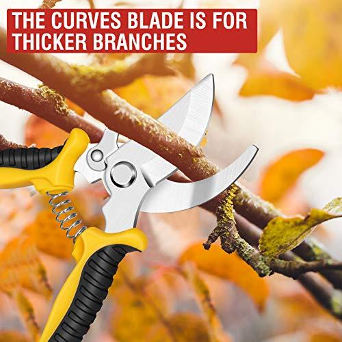 Sécateur de Jardin, Secateur force cisaille jardinage en acier inoxydable Sharp avec sac de rangement, mécanisme de verrouillage et poignée antidérapante pour tiges de branches, fleurs, haies, fruits