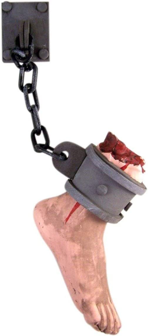 19 1//2 Halloween Shackled Hanging Bloody Severed Foot Prop