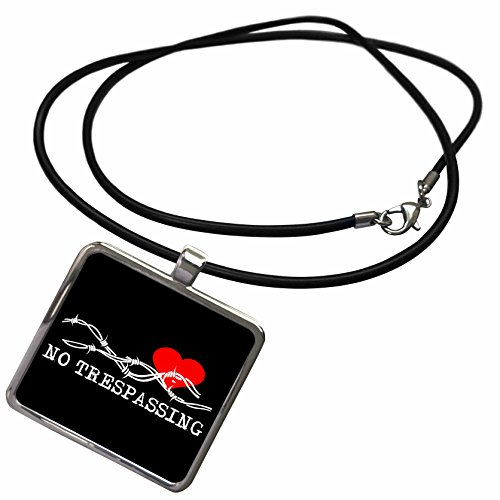3dRose Alexis Design - Love - Barbed wire, red heart, no trespassing white text on black - Necklace With Rectangle Pendant (ncl_272313_1) (Barbed Wire Pendant)