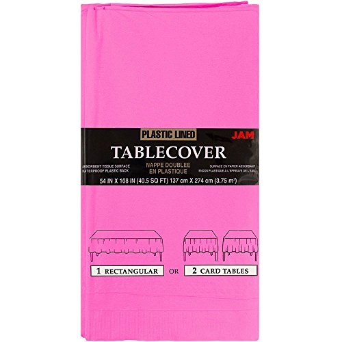 (JAM Paper Rectangular Paper Table Cover with Plastic Lining - 54 x 108 Inches - Fuchsia Pink - 1 Tablecloth/Pack)
