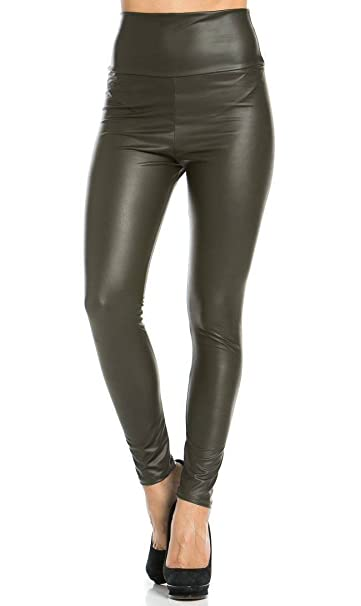 3cbe6274a7818 Image Unavailable. Image not available for. Color: High Waisted Faux  Leather Leggings ...