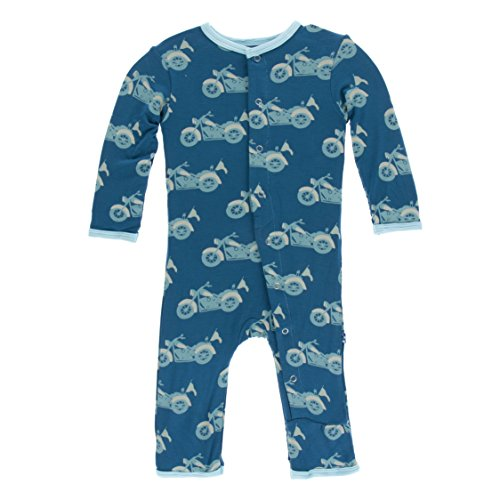 Kickee Pants Little Boys Print Coverall With Snaps - Heritage Blue Motorcycle, 0-3 Months