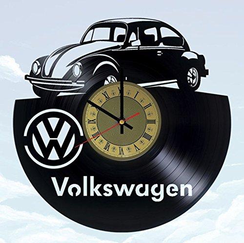 Black Clock Beetle - Automobile Beetle vinyl wall clock - handmade artwork home bedroom living kids room nursery wall decor great gifts idea for birthday, wedding, anniversary - customize your (Gold/Black)