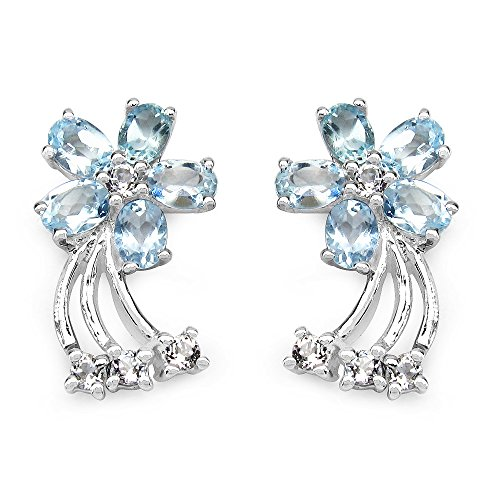 2.90 Carat Blue Topaz and White Topaz Earrings in .925 Sterling Silver