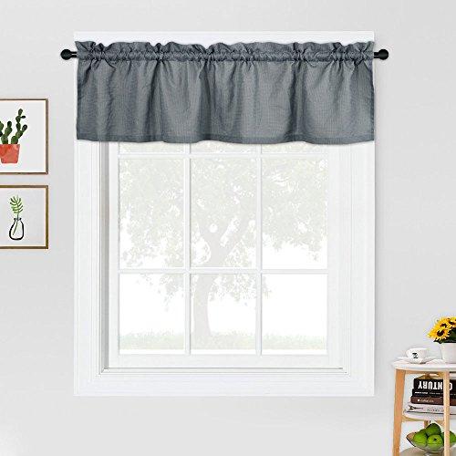 CAROMIO Valance Curtains Waffle Woven Textured Short Window