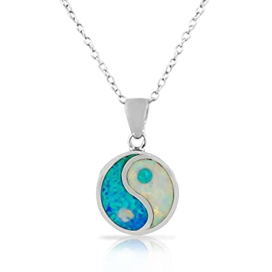 Amazon 925 sterling silver womens white blue turquoise tone 925 sterling silver womens white blue turquoise tone simulated opal yin and yang pendant necklace mozeypictures Image collections
